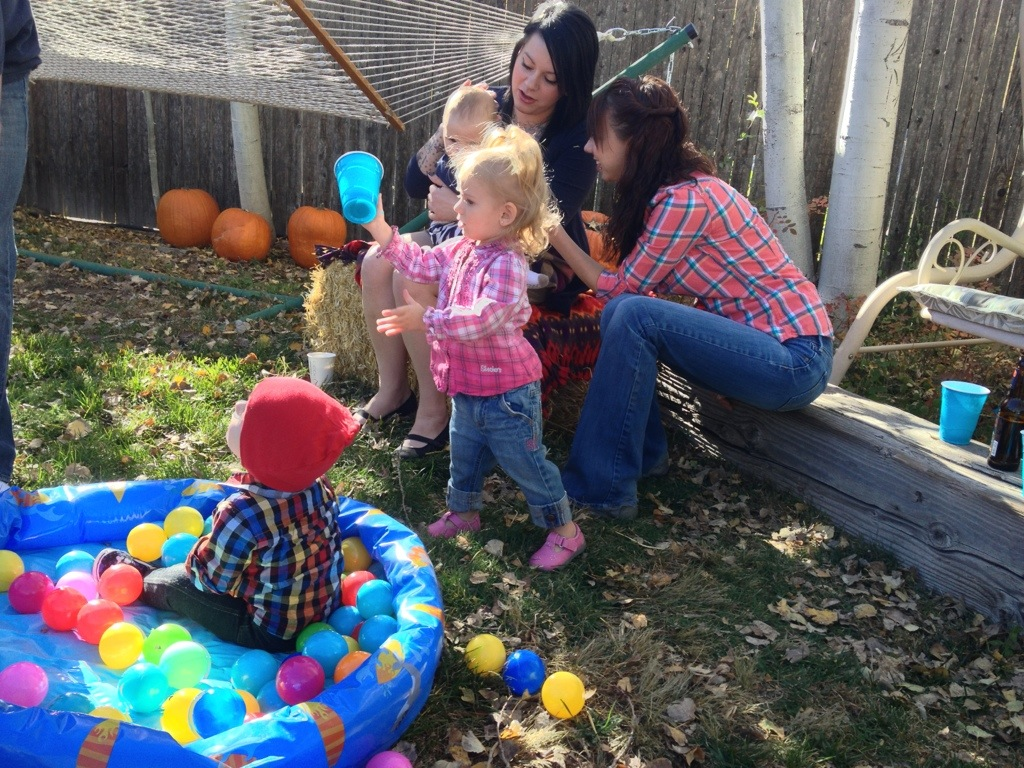 Pumpkin Party 2012 - Brittany and Shonna hang out with the kids