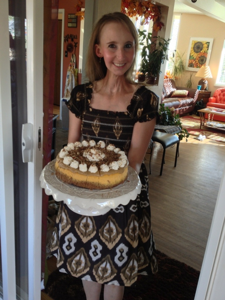 Pumpkin Party 2012 - Kami and her amazingly delicious pumpkin cheesecake!