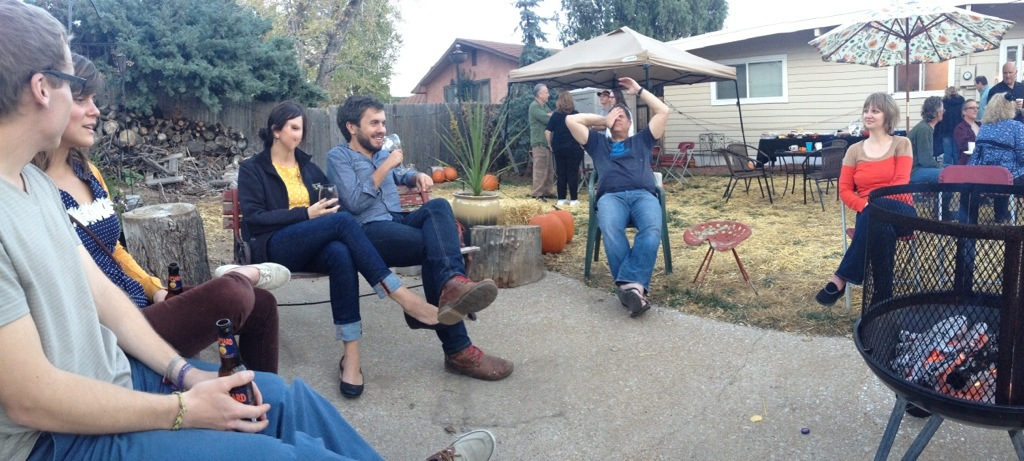 Pumpkin Party 2012 - iPhone Panorama of the backyard, Hannah seems to have temporarily turned into a Picasso painting.