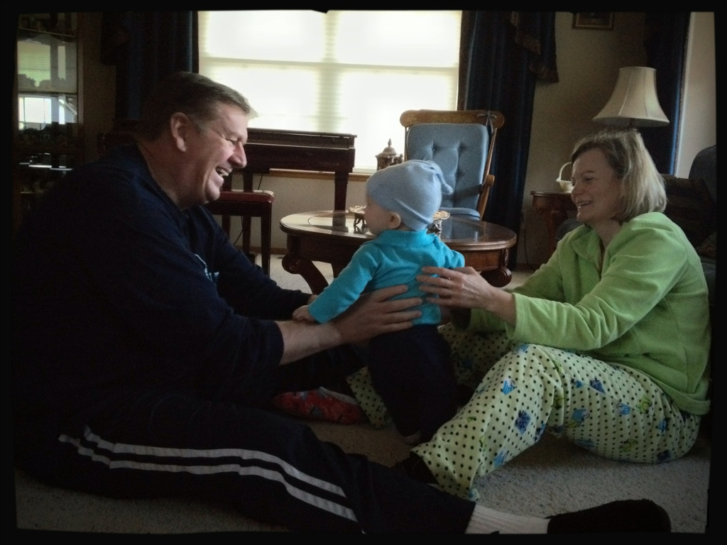 Grandpa and Grandma play with Felix