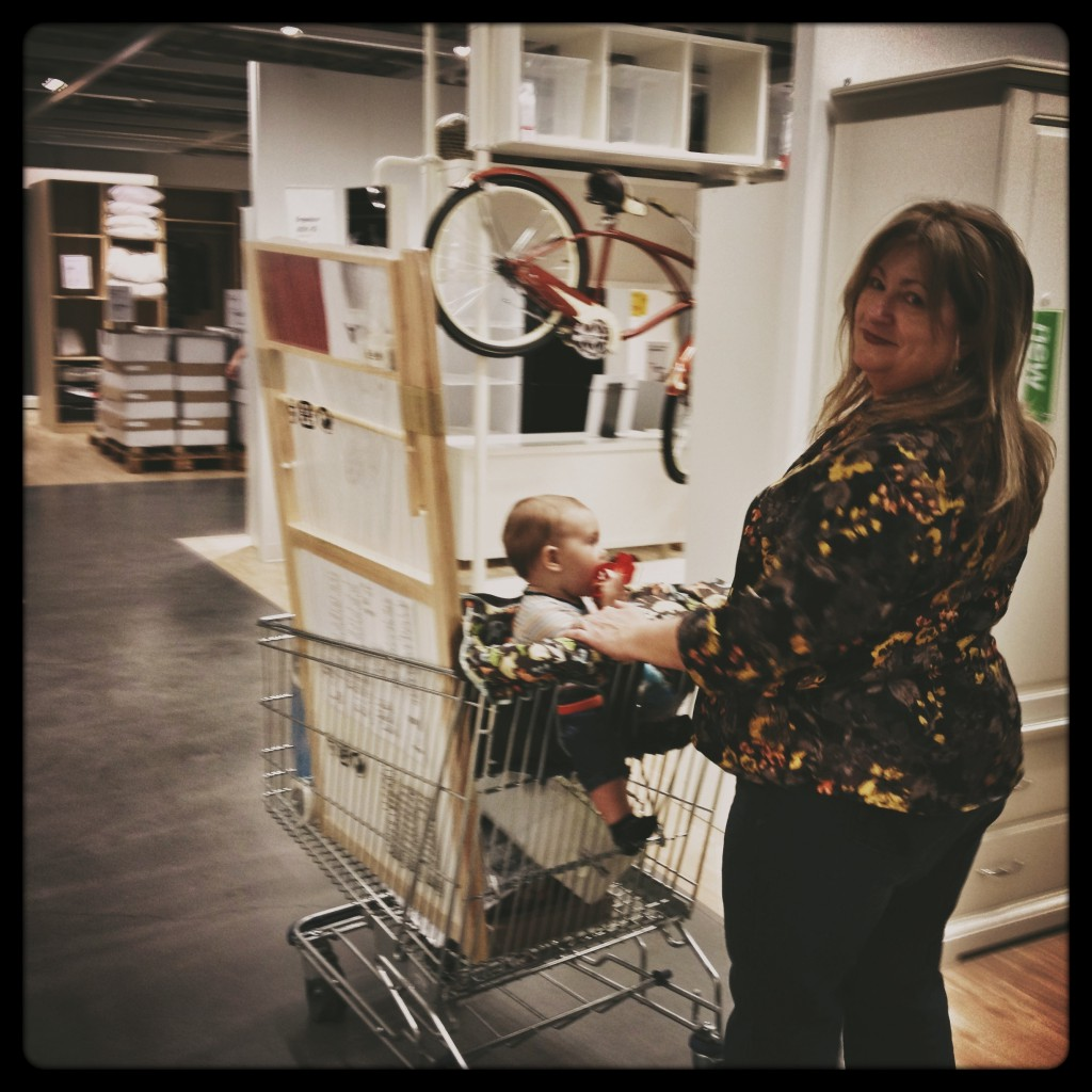 grannie and felix begin the journey into ikea
