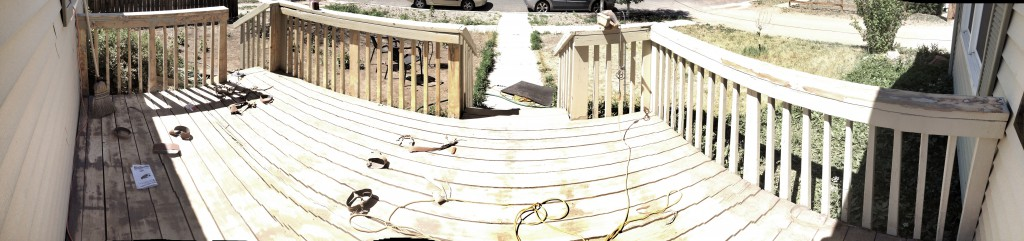 panorama of the deck with plenty of sanding belts littering the landscape