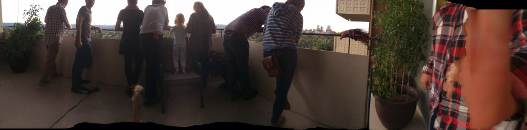 panoramic of family taking in the view
