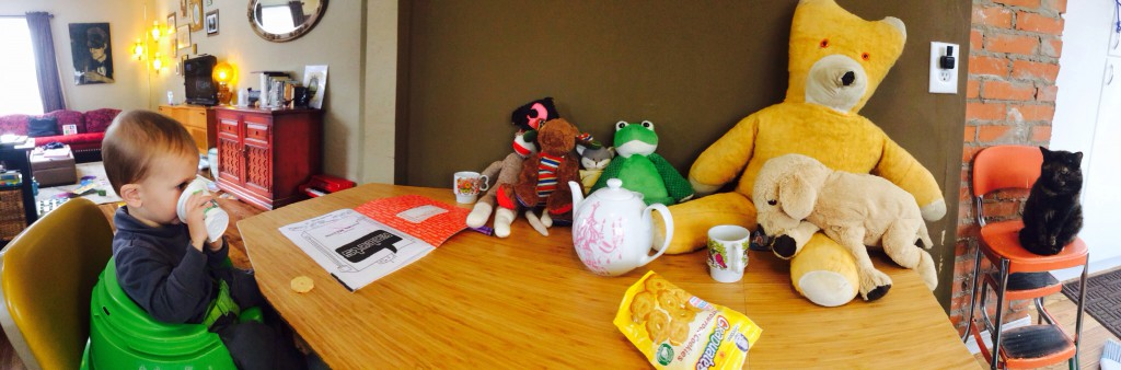 tea part with Felix, Rupert, Abbey, Moosey, Frog, Pirate Sock Monkey, Mouse and Manejo