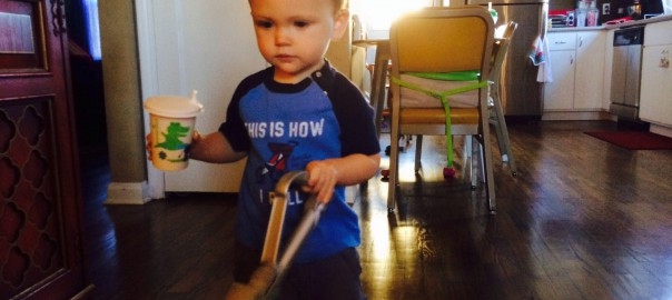 Felix Vacuums with his little Dyson
