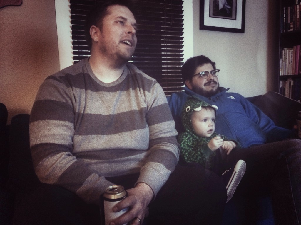 Adam, Alberto and Felix watch some Rastamouse while the football game buffers