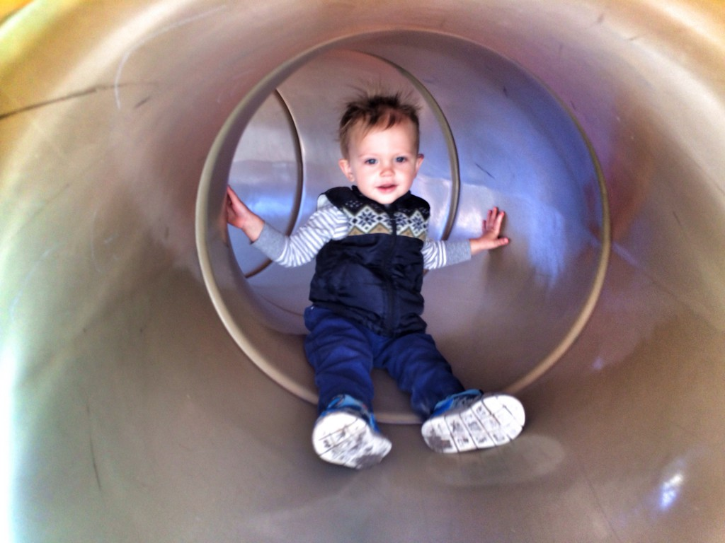Felix sliding down the tube