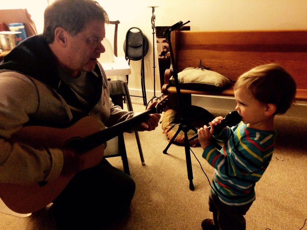 grandad on guitar/ felix on vocals