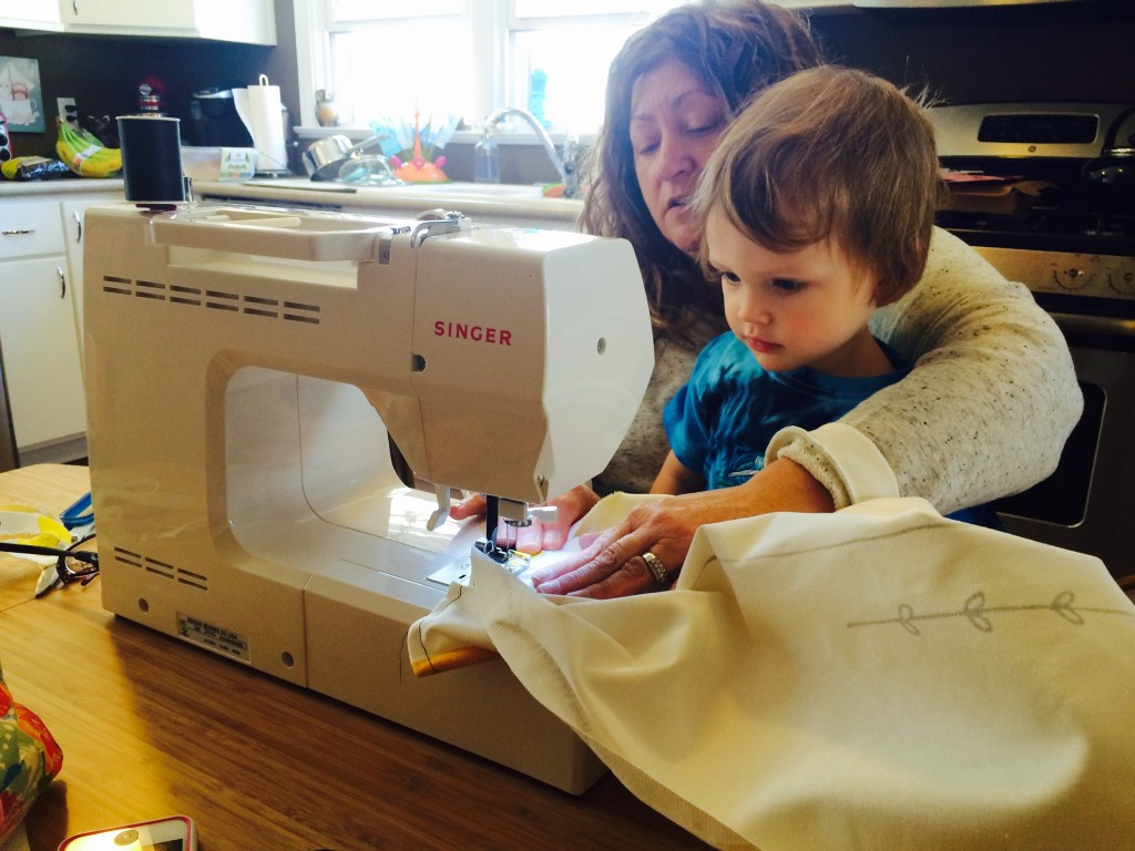 Granny teaches Felix how to use her new sewing machine