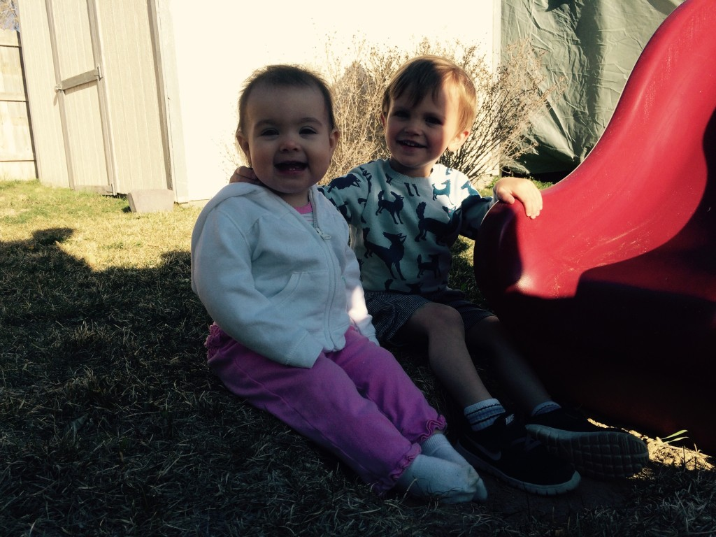 Felix and Zoey after the egg hunt