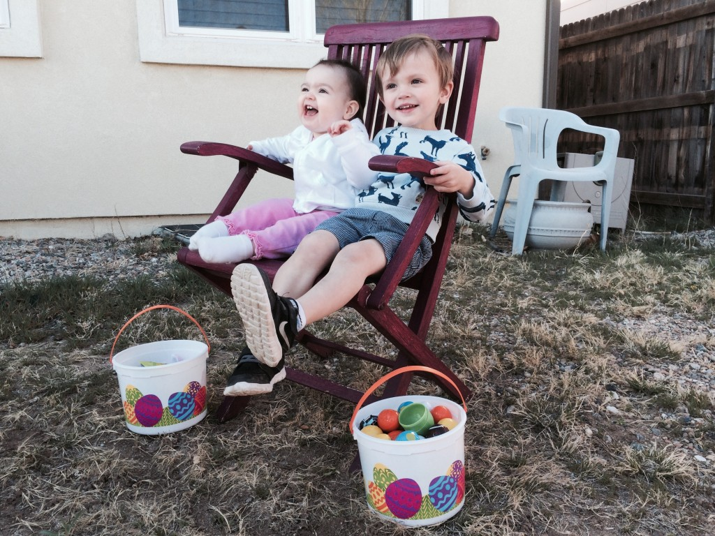 Felix and Zoey with their egg haul
