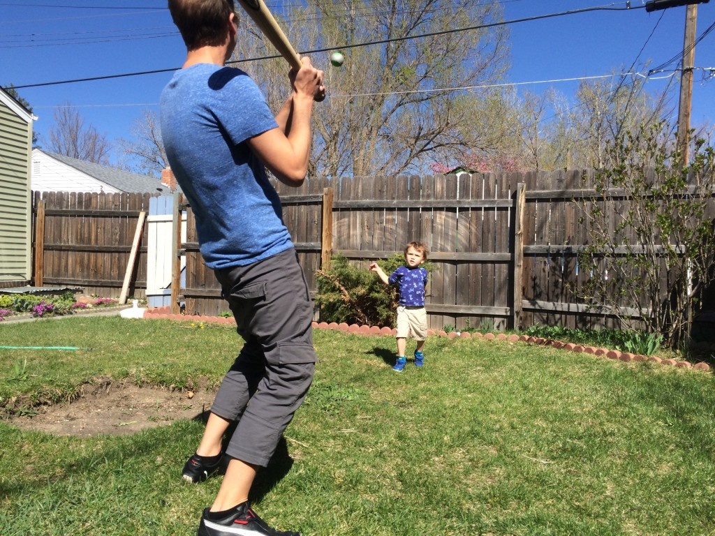 Playing baseball with Uncle Jonathan