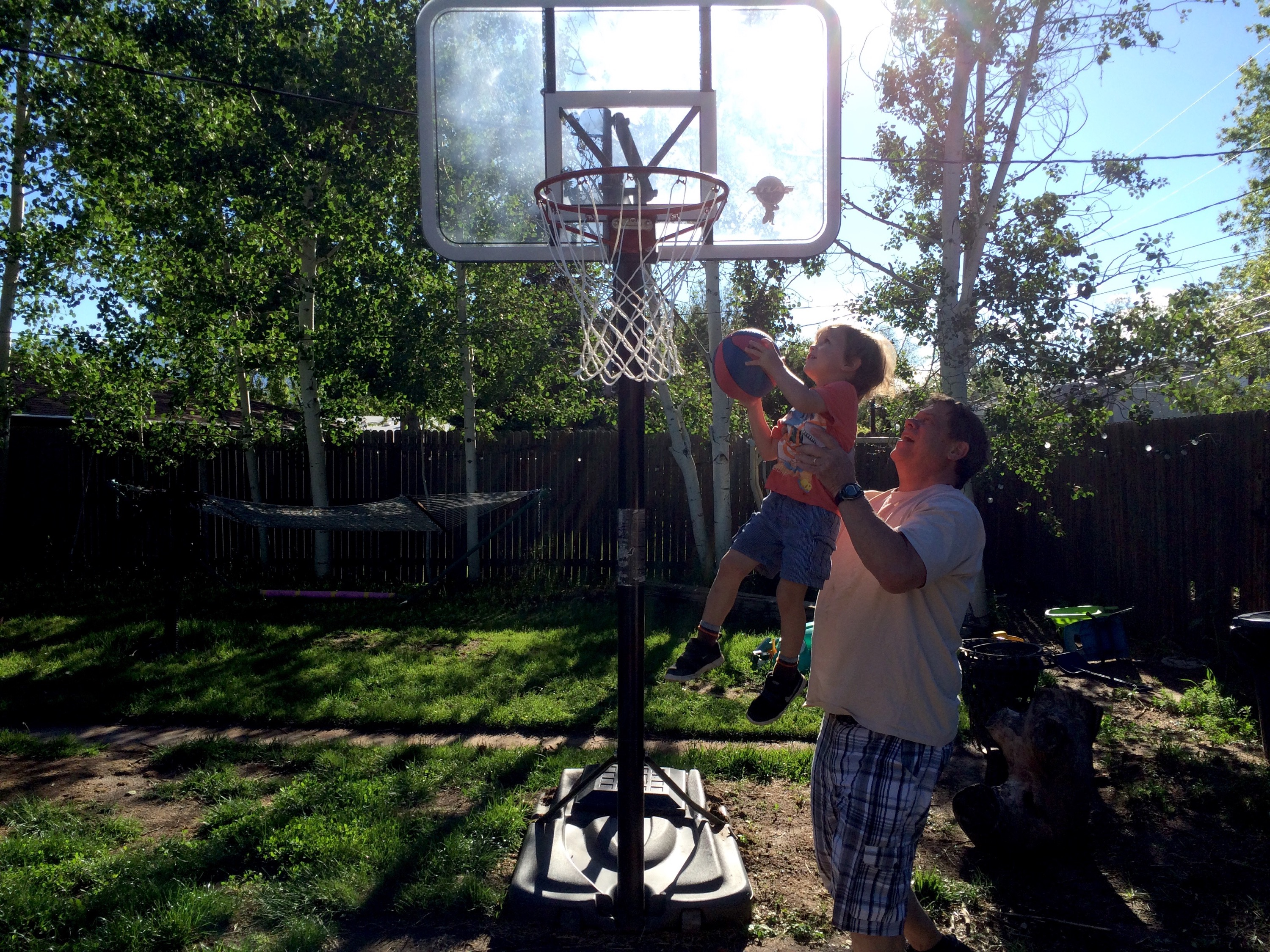 Felix for the slam dunk! (with an assist from Grandad)
