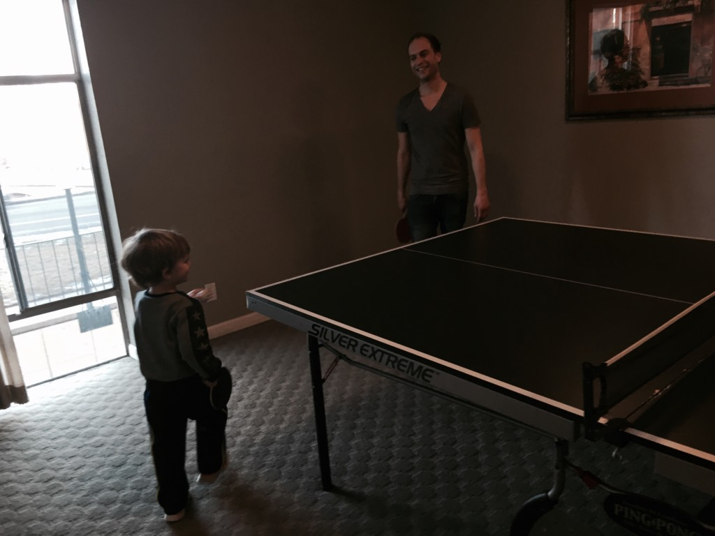Felix challenges Jonathan to a ping-pong match