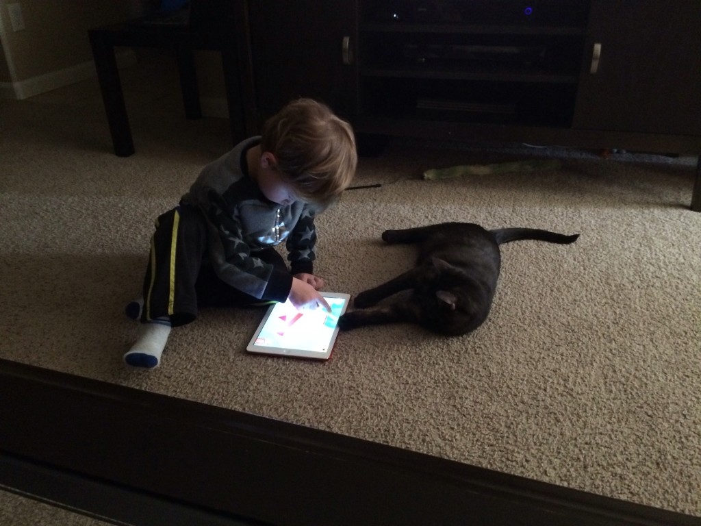 Felis plays iPad with Dusky